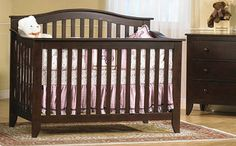 Found it at Wayfair - Salerno Forever Convertible Crib Nursery Dark Furniture, Baby Furniture, Furniture Decor, Wood Crib, Best Crib, Childrens Beds, Crib Sets, Convertible Crib, Baby Cribs