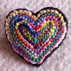 Freeform embroidery heart brooch Brooch 76 by Lucismiles on Etsy