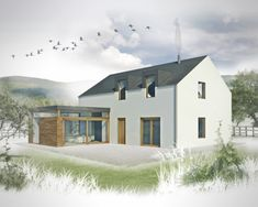 A 3 bed, 2 reception ft house with the potential for a number of differen. - A 3 bed, 2 reception ft house with the potential for a number of different internal arrangem - Modern Small House Design, Contemporary House Plans, Cool House Designs, Rural House, Bungalow House Plans, Cottage House Plans, Farmhouse Renovation, Modern Farmhouse Exterior, House Designs Ireland