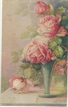 ROSES IN BOWLS TUCK POSTCARD # 3254, TEXTURED OILETTE, ARTIST SIGNED, PRINTED IN ENGLAND