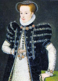 1560 – Young girl painted by school of Clouet. Details to look at: LARGE French sleeve heads Coif made of net/lace and possibly wired. Slits in loose gown being modeled. Could they be used as hand warmers? Spotted Fur.