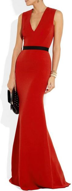 VICTORIA BECKHAM  Belted Wool and Silkblend Double Crepe Gown