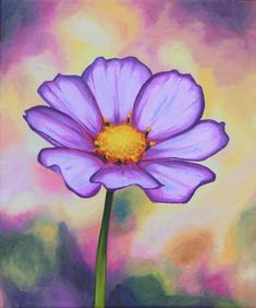 Original Floral Painting by Luverno Art Easy Flower Painting, Simple Oil Painting, Purple Painting, Acrylic Painting Flowers, Flower Art, Easy Flowers To Paint, Painted Flowers, Easy Nature Paintings, Simple Canvas Paintings