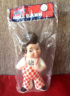 Vintage 1973 Bobs Big Boy Restaurant Vinyl Rubber Doll Coin Bank in Sealed Bag #bobsbigboy #piggybank