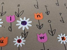 Kiwi Co. Make a beautiful flower garden while learning letters and letter sounds! Just need stickers and large paper Preschool Letters, Learning Letters, Toddler Crafts, Toddler Activities, Toddler Games, Toddler Learning, Kid Crafts, Learning Activities, Preschool Activities