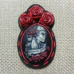 Custom order. Day of the dead soutache pin.