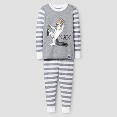 65acb40ed87 Toddler Boys  Where the Wild Things Are Max Long Sleeve Tight Fit 2-Piece  Pajama Set Gray