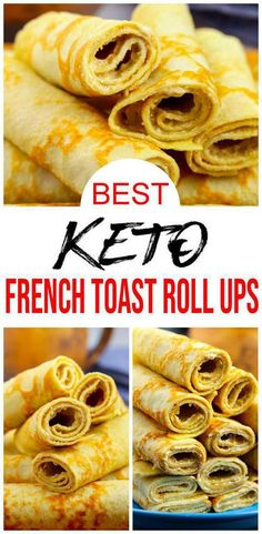 BEST Keto French Toast – Low Carb Keto French Toast Roll Ups Recipe – Quick and Easy Ketogenic Diet French Toast - Check out these keto french toast roll ups. Easy keto recipes for the BEST low carb keto french toa - Keto Diet Breakfast, Breakfast Recipes, Breakfast Appetizers, Healthy Morning Breakfast, Free Breakfast, French Toast Roll Ups, Comida Keto, Roll Ups Recipes, Keto Friendly Desserts