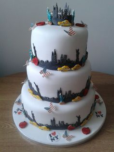 My latest wedding cake ...New York themed