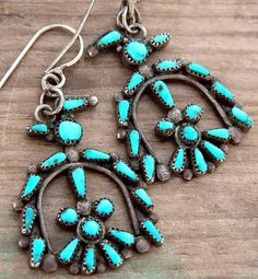 Thunderbird motif turquoise earrings, Zuni style. No maker's mark or sterling stamp.