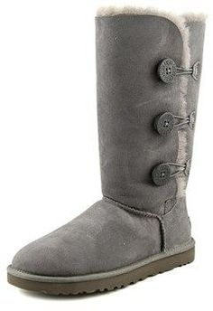 UGG Bailey Button Triplet Women Round Toe Suede Gray Winter Boot.