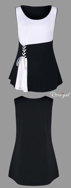 Plus Size Two Tone Lace Up Tank Top - Black - 3xl