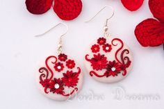 Rose Garden Red White Valentine Earrings by DeidreDreams.deviantart.com on @DeviantArt