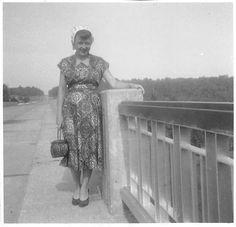 Black and White Vintage Snapshot Photograph Woman Dress Bridge Smile 1950'S | eBay