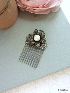 A Metal Filigree Flower, White Shell Pearl Art Nouveau Antiqued Brass Hair Comb. Gift. Vintage Style Wedding