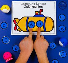 Submarine Letter Matching Game - Preschool Transportation Unit #preschool #transportationunit #planningplaytime Transportation Preschool Activities, Summer Preschool Themes, Transportation Worksheet, Preschool Colors, Toddler Learning Activities, Preschool Games, Preschool Crafts, Preschool Worksheets, Letter Matching Game