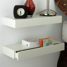 Bildresultat för small bookcase instead of bedside table White Floating Shelves, Floating Shelves Bathroom, Small Bathroom, Floating Drawer Shelf, Wall Shelves, Shelving, Home Bedroom, Bedroom Decor, Bedrooms