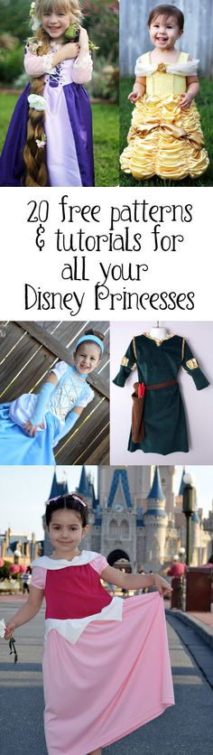 Patterns and Tutorials for Disney Princess Costumes for Halloween or the Dress Up Box!  Includes: Cinderella, SnowWhite, Belle, Tiana, Rapunzel, Merida, Aurora, Jasmine, Ariel, & TInkerBell
