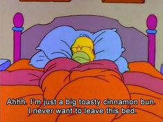 """""""I'm just a big toasty cinnamon bun. I never want to leave this bed."""" - sleep Homer Simpson The Simpsons quotes The Simpsons, Simpsons Quotes, Simpsons Funny, Humor Grafico, Favim, The Villain, New Parents, Story Of My Life, How I Feel"""