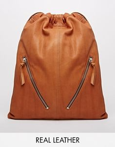 Find the best selection of ASOS Leather Drawstring Backpack with Double Zips. Shop today with free delivery and returns (Ts&Cs apply) with ASOS! Backpack Bags, Drawstring Backpack, Leather Backpack For Men, Leather Backpacks, Big Bags, Women's Bags, String Bag, Leather Handbags, Leather Bags
