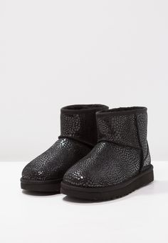 UGG CLASSIC MINI GLITZY - Ankle boot - black - Zalando.pl