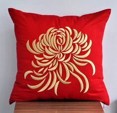 Gold Chrysanthemum Decorative Throw Pillow Cover, Red Linen Pillow with Gold Flower Embroidery, Pillow Case 18 x 18, Cushion Cover Red via Etsy