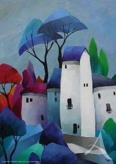 "Art print ""White Tower I"" Art Deco Print, Mosaic Wall Art, Call Art, Cool Art Drawings, Naive Art, Whimsical Art, Acrylic Art, Contemporary Paintings, Landscape Art"