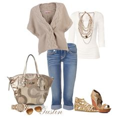 spring casual, created by stacy-gustin on Polyvore I like the wedge with this look better