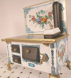 Old Miniature Furniture for Dollhouse | Details about Dollhouse Furniture Miniature Large Old Fashion Tin ...