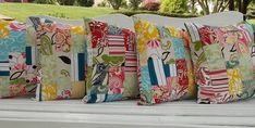 Indoor / Outdoor Pillow Cover  Patch Work by InFullBloomCo on Etsy, $38.00