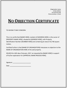 21 no objection certificate templates free printable word pdf