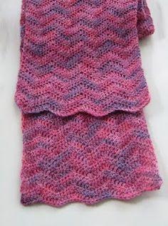 One-skein Crochet Scarf: Pinks Ripple Scarf, free crochet pattern by Yarnarian