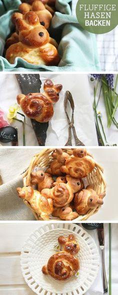 Rezepte für Ostern: Fluffige Osterhasen backen, Hefeteig / easter recipes: make easter bunnys via DaWanda.com