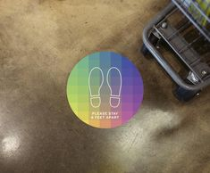 Colorful Gradient Floor Decal Social Distancing Sticker | Etsy #socialdistancing #opensigns #reopeningsigns #shopsmall #6feet #smallbusinesssigns #smallbusiness #businessdecals #floordecals #floorstickers #covidsigns #coronavirussigns #covid19floordecals #funsocialdistancing #colorfulfloordecals #gradients #rainbow #rainbowfloordecal Floor Decal, Floor Stickers, Open Signs, Signage, Decals, Rainbow, Colorful, Flooring, Etsy