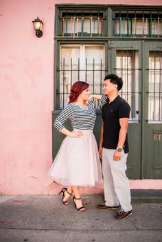 Bride to be wearing blush colored Tulle Skirt | New Orleans Engagement Photo Shoot