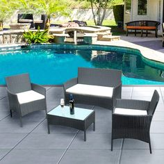 Pandamoto Outdoor Patio Furniture Sets 4 Pieces Patio Set Rattan Chair Set with Cushion Coffee Table for Lawn Garden Porch Pool Courtyard Backyard (Black) Rattan Garden Furniture Sets, Garden Sofa Set, Table Furniture, Outdoor Furniture Sets, Outdoor Decor, Rattan Sofa, Wicker, Sofa Chair, Patio Chairs