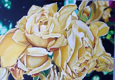 """Acrylic on linen 28x20 inch """"summer Fades"""" autumn roses, commission piece"""