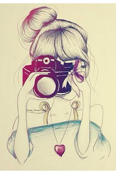 girl and her camera Hipster Art, Realistic Drawings, Love Diary, Funny Love, Croquis, Art Girl, Fotos Tumblr, Drawing Ideas, Amanda