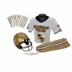 College Football Deluxe Uniform Set - Georgia Tech - Pass along the college football tradition to your young fan with this official College Football Deluxe Uniform Set. Included is an official team jersey, team helmet with authentic logo and team colors, and team pants that will have them looking ready to take the field. The set also includes iron-on numbers (0-9) for the back of the jersey. - See more at: http://franklinsports.com/shop/college-deluxe-uniform-set