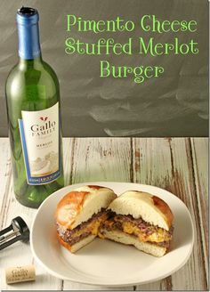 Best Burger Ever!  If you are looking for a moist burger that's a step above the every day then you have to try this Pimento Cheese Stuffed Merlot Burger #SundaySupper - Yours And Mine Are Ours
