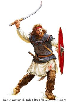 Dacian warrior wielding a single-handed Falx which was more effective because it could be paired with a shield. He also wears chainmail armor with Roman styled shoulder doubling which could have been taken off of a dead Roman soldier or due to Dacia's extensive iron mines and expert iron workers, could have been forged by the Dacians themselves