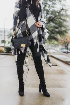 Buffalo check poncho with over the knee boots