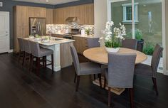 Transitional Dining Room with Bright Home Dominguez Grey Linen Nailhead Modern Dining Chair, High ceiling, Hardwood floors