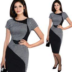 DaySeventh Women's Short Sleeve Elegant Business Dress Office Bodycon Dresses