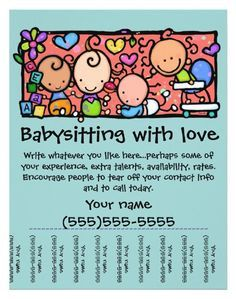 15 cool babysitting flyers 14 babysitting flyers babysitting activities daycare logo flyer template