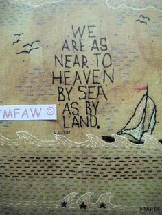 Primitive Folk Art Print We are as near to Heaven by FolkArtWorks