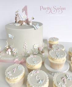 Woodland garden first birthday cake and cupcakes Wedding Cake Designs, Wedding Cakes, Cupcake Cakes, Cupcakes, Luxury Cake, Sugar Cake, Woodland Garden, Dream Cake, First Birthday Cakes
