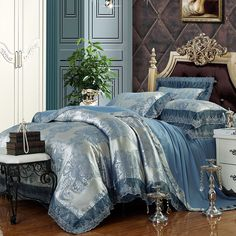 luxury blue bed linens - Google Search