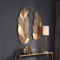 Lace Leaf Wall Art, Set of 2 - Autumn Lace Leaf Wall Art, Set of Expert Craftsmanship Featuring Hand Forged And Laser Cut Metal Sheeting Resembling A Late Autumn Lacy Effect, Finished In A Moderately Antique Brushed Wall Decor Set, Metal Wall Decor, Wall Art Sets, Room Decor, Gold Wall Art, Leaf Wall Art, Gold Art, Gold Gold, Laser Cut Metal