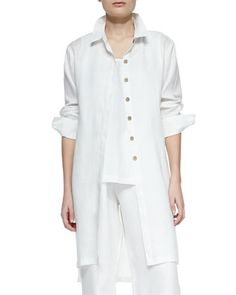 Long-Sleeve Linen Duster by Go Silk at Neiman Marcus.